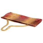 Statement Clutch in Snake Embossed Leather - Gold/Coral