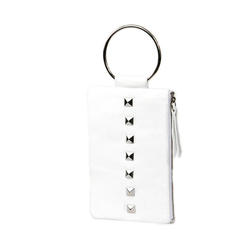 Soiree Wrist Clutch with Rivet Accent - White