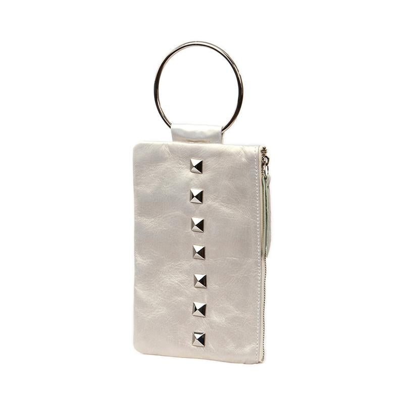Soiree Wrist Clutch with Rivet Accent - Light Gray