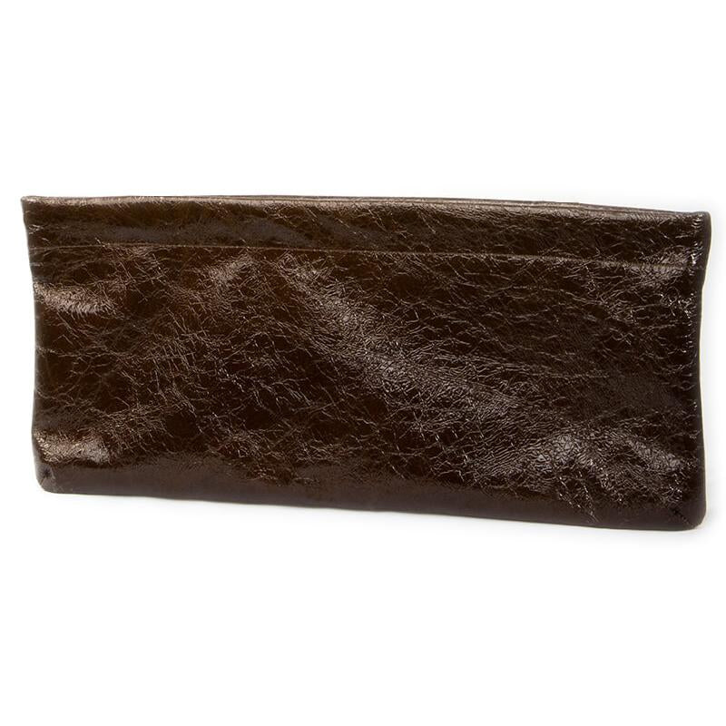 Statement Clutch in Patent Leather - Espresso