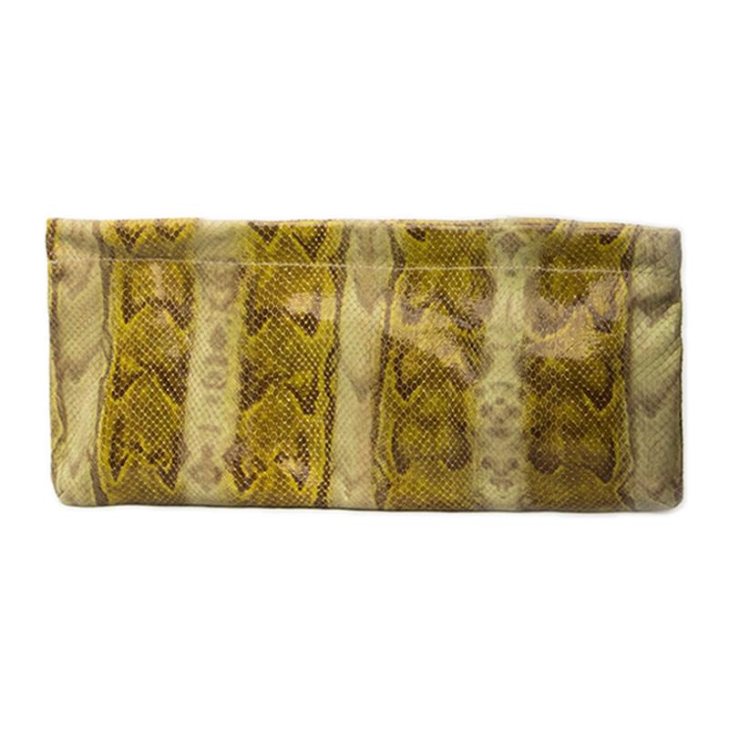 Statement Clutch in Snake Embossed Leather - Green