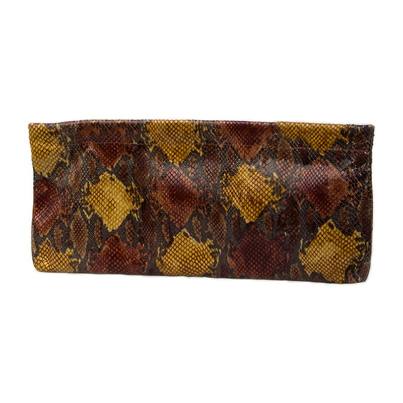 Statement Clutch in Snake Embossed Leather - Brown/Gold