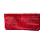 Statement Clutch in Snake Embossed Leather - Red