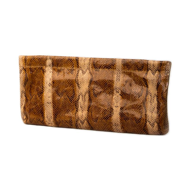Statement Clutch in Snake Embossed Leather - Caramel