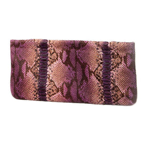 Statement Clutch in Snake Embossed Leather - Purple