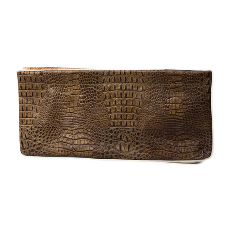 Statement Clutch in Crocodile Embossed Leather - Taupe