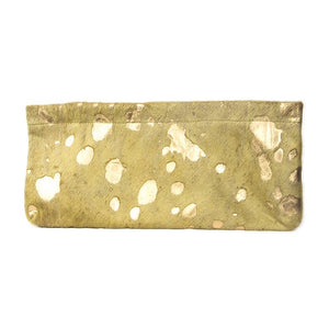 Statement Clutch in Green/Gold Hair on Hide