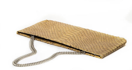 Statement Clutch in Snake Embossed Leather - Tan