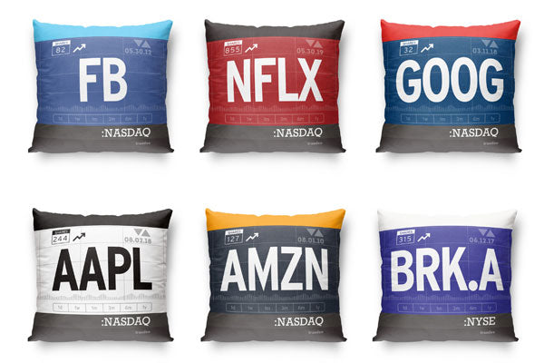 Ticker Stock Throw Pillow Collection