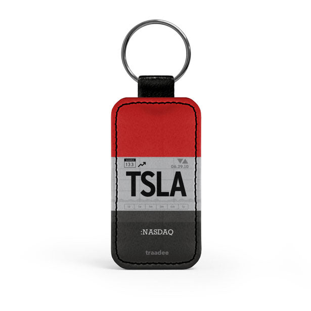 TSLA - Leather Keychain