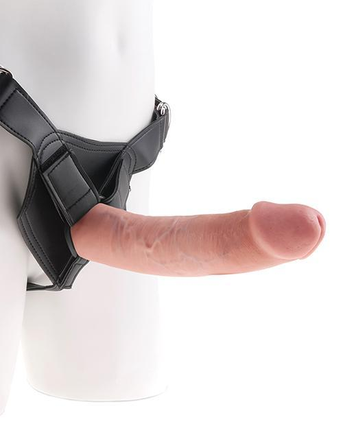 "King Cock Strap On Harness With 9"" Dildo Flesh"