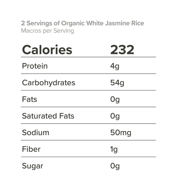 2 Servings of Organic White Jasmine Rice