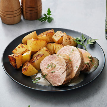 Applewood Heritage Pork Tenderloin with Garlic Roasted Potatoes