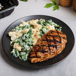 Balsamic-Dijon Grilled Chicken with Creamy Spinach and Cauliflower