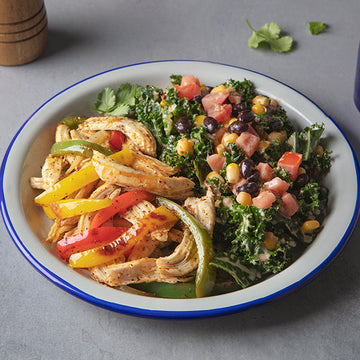 Shredded Chicken Fajitas with Salsa Ranch Kale Salad