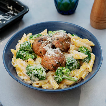 Penne Parmesan Cauli-Fredo with Roasted Mushroom Swiss Chicken Meatballs and Broccoli