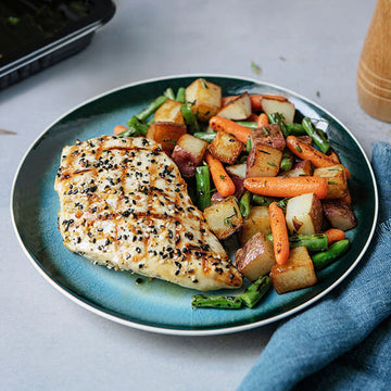 'Everything' Grilled Chicken with Herb Roasted Veggies