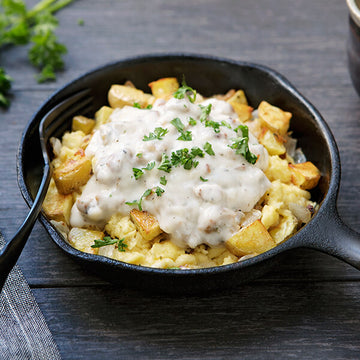 Free-Range Turkey Sausage Scrambler and Gravy Breakfast Bowl