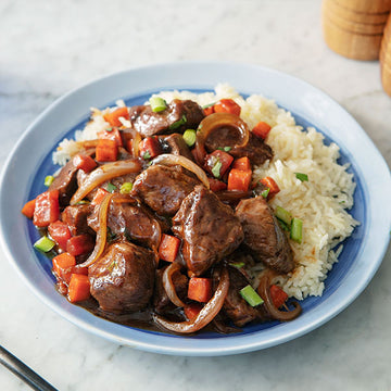 Asian-Style Braised Grass-Fed Beef with Jasmine Rice