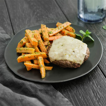 Grass-Fed Bison Burger with Pepper Jack Cheese and Pistachio Roasted Carrots