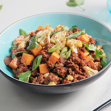 Grass-Fed Beef Chorizo with Sweet Potato and Cauliflower Hash