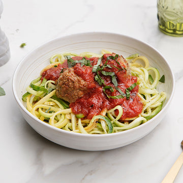 Grass-Fed Beef Meatballs Marinara over Al Dente Zucchini Noodles