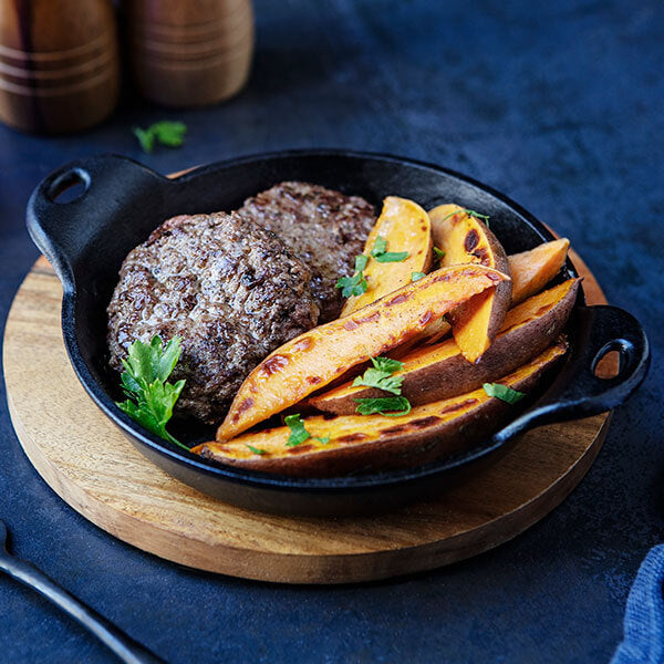 Grass-Fed Beef Breakfast Sausage with Sweet Potato Wedges