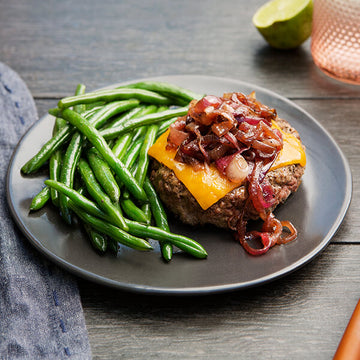 Grass-Fed Beef Burger with Cabernet Onions, Wisconsin Cheddar and Green Beans