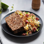 Homestyle Grass-Fed Bison Meatloaf with Cheesy Loaded Cauliflower