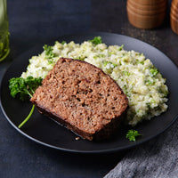 Grass-Fed Beef Meatloaf with Creamy White Cheddar Broccoli and Jasmine Rice
