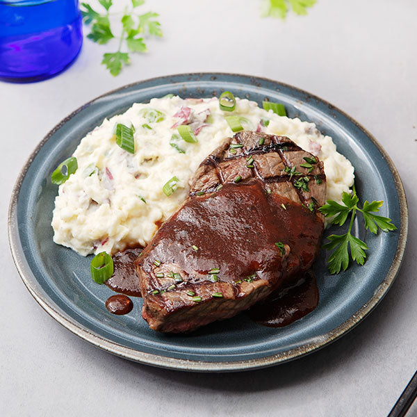 Grilled Grass-Fed Top Steak with Classic Steak Sauce and Mashed Red Potatoes