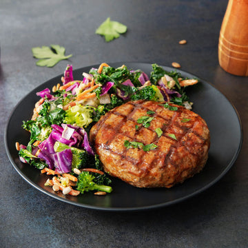 BBQ Organic Turkey Burger with Honey Mustard Broccoli Salad