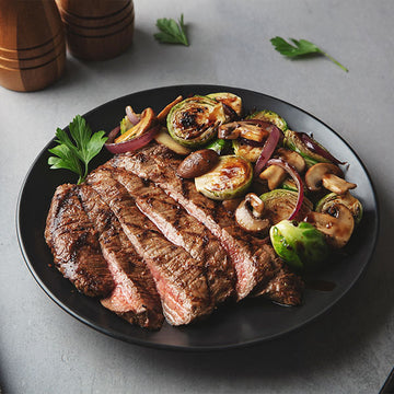 Honey-Roasted Grass-Fed Flank Steak with Balsamic Glazed Brussels Sprouts and Mushrooms