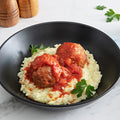 Italian Free-Range Turkey Meatball Cacciatore with Garlic Parmesan Risotto