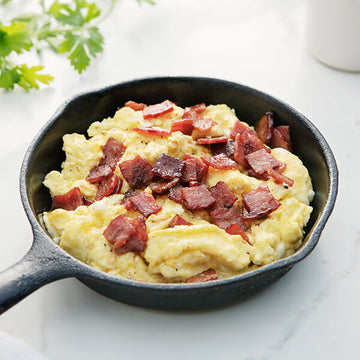 Maple Bacon and Free-Range Eggs Scramble