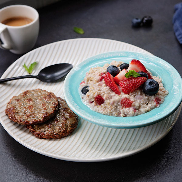Vanilla-Berry Steel-Cut Oatmeal with Free-Range Turkey Sausage