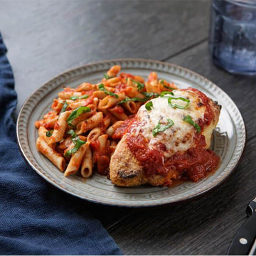 Chicken Parmesan with Organic Supergrain Pasta al Pomodoro