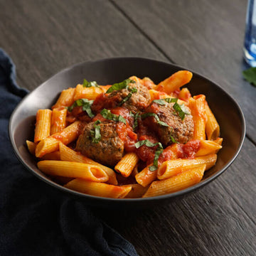 Penne Pasta Al Pomodoro with Grass-Fed Bison Meatballs