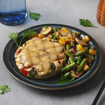 Philly Cheese Chicken Burger with Honey Mustard Green Beans