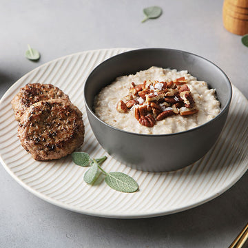 Salted Caramel Protein Oatmeal with Free-Range Turkey Breakfast Sausage