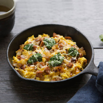 Scrambled Eggs with Chorizo, Aged White Cheddar and Cilantro