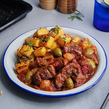 Sicilian Grass-Fed Beef Stew with Roasted Butternut Squash and Toasted Pine Nuts