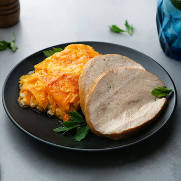 Smoked Turkey Breast with Cheesy Butternut Squash Casserole