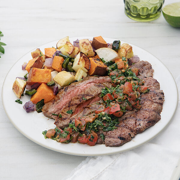 Smoked Grass-Fed Flank Steak with Cilantro Salsa and Roasted Vegetables