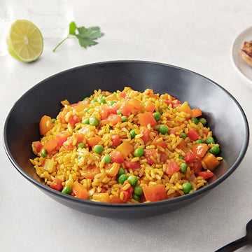 2 Servings of Saffron Rice with Peas and Tomatoes