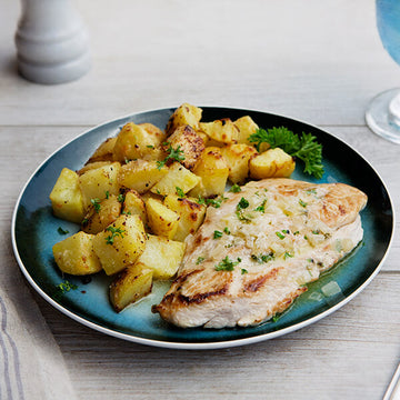 Turkey Cutlet and White Wine Sauce with Parmesan Roasted Yukon Gold Potatoes
