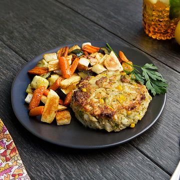 Wild-Caught Cod and Corn Cakes with Roasted Root Vegetables