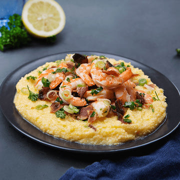 Wild-Caught Shrimp, Creole Sauce  and Aged White Cheddar Corn Grits