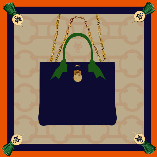 "MME. Famous ""BRUNCH TOTE""  in Navy Scarf 20""x20"""