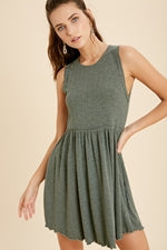 Sleeveless Mini Dress-Hunter Green
